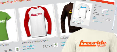 Shop Ansicht des Freeride Holiday Merchandise Shops
