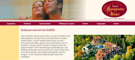 Die Website des Wellness Hotel Romantischer Winkel